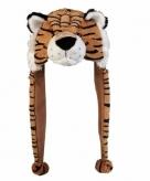 Pluche tijger muts met flappen 18 cm