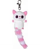 Pluche wit roze vossen sleutelhanger 7 5 cm
