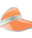 Poker zonneklep oranje met wit