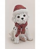 Polystone dalmatier met kerstmuts