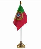 Portugal versiering tafelvlag 10 x 15 cm