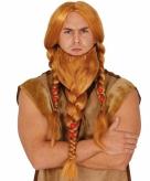 Rode barbaren pruik met gevlochten baard
