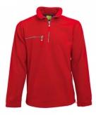 Rode fleece trui met ritskraag voor volwassenen