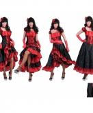 Rood met zwarte saloon jurk