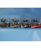 Rood miniatuur vissersbootje hout