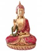 Rood thais boeddha beeldje met ketting 22 cm