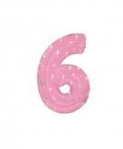 Roze cijfer ballon 6 met helium