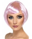 Roze dames bobline pruik