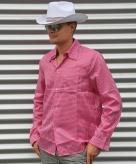Roze geruite cowboy blouse voor heren