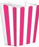 Roze gestreepte snoepbakjes 5 stuks