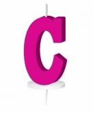 Roze taart kaarsje letter c