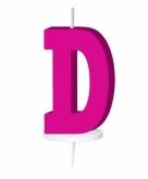 Roze taart kaarsje letter d