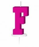 Roze taart kaarsje letter f
