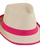 Roze trilby beach hoed