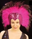 Roze veren hoofdtooi deluxe