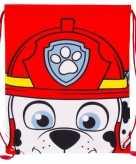 Rugtas gymtas rood wit paw patrol met rijgkoord
