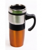 Rvs koffiebeker oranje voor onderweg