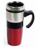 Rvs koffiebeker rood voor onderweg