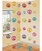 Sixties thema peace hangdecoratie 6 stuks