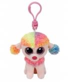 Sleutelhanger hond poedel rainbow ty beanie 12 cm