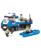 Sluban politiewagen met boot bouwstenen set