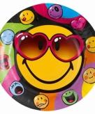 Smiley feestborden 8 stuks