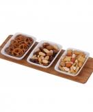 Snack schaaltjes rechthoekig met bamboe plank