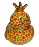 Spaarpot eendje geel met hartjes print 28 cm
