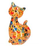 Spaarpot kat oranje met doodshoofd print 28 cm