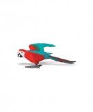 Speeldier rood blauwe ara papegaai 10 cm