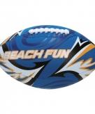Speelgoed blauwe rugbybal voor op het strand