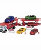 Speelgoed vrachtwagen met autootjes op aanhanger 1 60