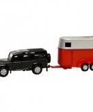 Speelgoed zwarte auto land rover met paardentrailer