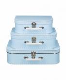 Speelgoedkoffertje licht blauw polka dot 25 cm