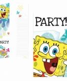 Spongebob feest uitnodigingen 6 stuks