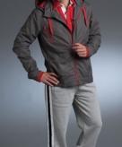 Sportief jack grijs met rode contras details