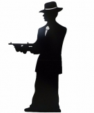Star cut out gangster silhouette