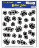 Stickervel met kogelgaten