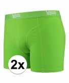 Stretch boxershorts fel groen 2 x voor heren