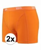 Stretch boxershorts fel oranje 2 x voor heren