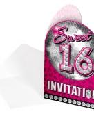 Sweet 16 thema feest uitnodigingen 8 stuks