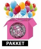 Sweet 16 versiering en feestartikelen pakket