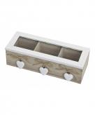 Theedoos hout met 3 witte hartjes 26 x 10