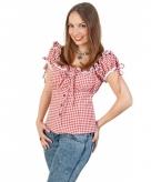 Tiroler blouse rood wit voor dames