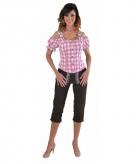 Tiroler geruite blouse off shoulders roze 10068599