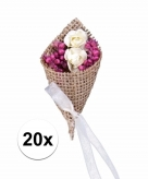 Trouwcorsages met jute 20x