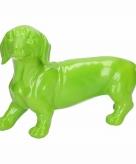 Tuinbeeld teckel hondje groen 29 cm