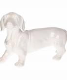 Tuinbeeld teckel hondje wit 29 cm