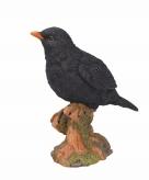 Tuinbeeldje vogel merel 20 cm