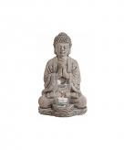 Tuindecoratie boeddha waxinelicht houder grijs 30 cm